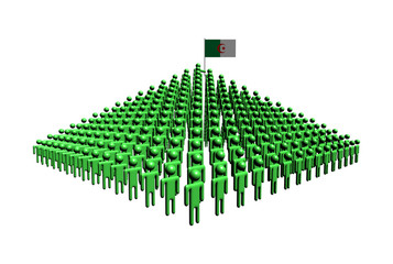 Pyramid of abstract people with Algerian flag illustration