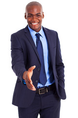 handsome african businessman handshake gesture isolated on white