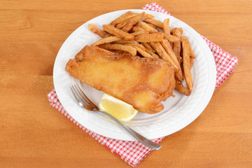 top view fish and chips