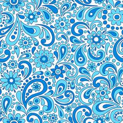 Paisley Flowers Seamless Pattern Vector Illustration