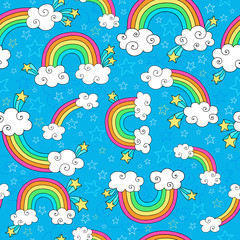 Rainbows Sky and Clouds Seamless Groovy Vector Pattern