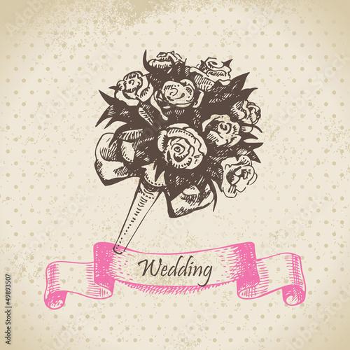 Нарисовать свадебный букет
