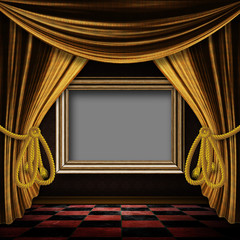 Golden curtain room with wooden frame