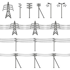 High voltage power lines. Electricity pylon silhouette. Vector