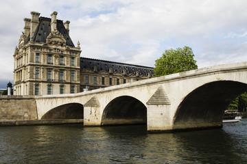 Arch bridge with a palace, Luxembourg Palace, Seine River, Paris