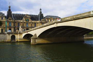 Arch bridge with a palace, Luxembourg Palace, Seine River, Paris