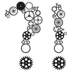 question mark with metal cogs on white background