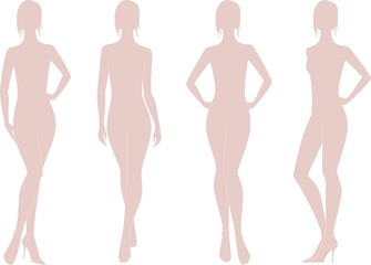 Vector illustration of woman's figure. Four options