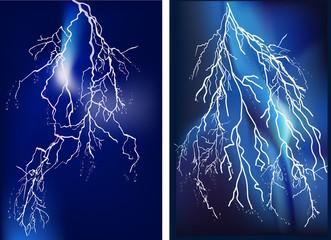 two bright lightnings in blue sky