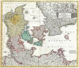 Wall Mural - Denmark old map