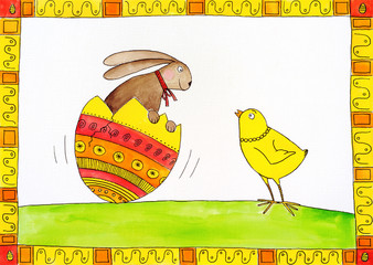 Easter card, child's drawing, watercolor painting