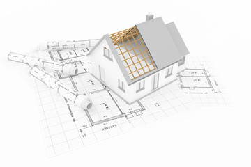 Einfamilienhaus auf Bauplänen