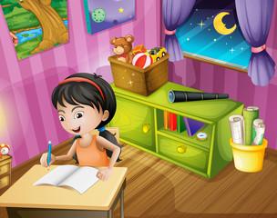 A girl holding a pencil