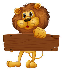 An empty wooden board brought by the lion