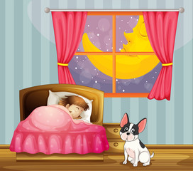 A girl sleeping in her room with a dog