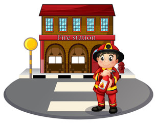 A fireman holding a fire extinguisher