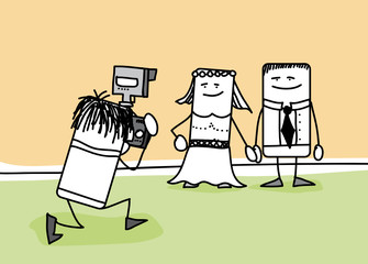 Mariés qui se font prendre en photo