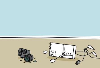 Personnage qui casse son appareil photo en tombant