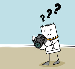 Personnage en panne d'appareil photo