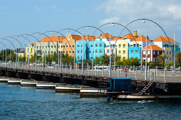 Bridge with colorful buidlings