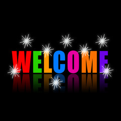 Welcome colorful word with bright sparkles
