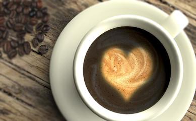 Taza de cafe con corazón