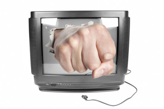 Fist smashes TV screen