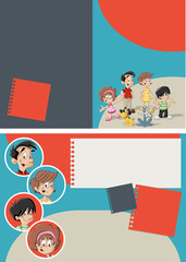 Red and blue template with cute happy cartoon family