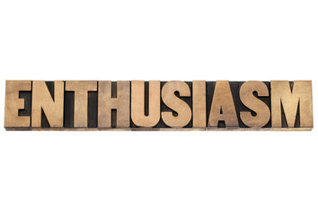 enthusiasm word in wood type