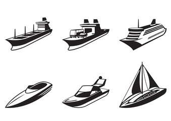 Sea ships and boats in perspective