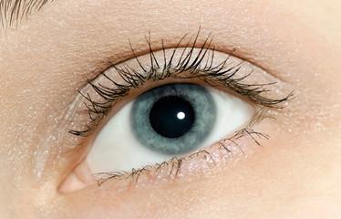 Beautiful woman blue eye close-up