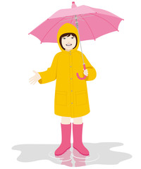 Young girl with pink umbrella and yellow raincoat on the puddle