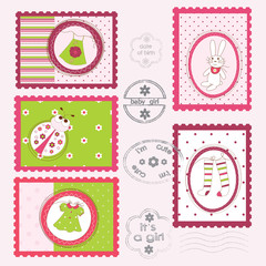 Set of Baby Girl Postage Stamps