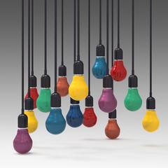 creative idea and leadership concept  colors light bulb