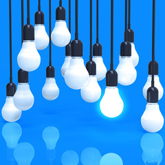 creative idea and leadership concept light bulb on blue