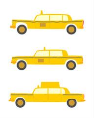 Sylwetki taksówek w stylu retro na białym tle.