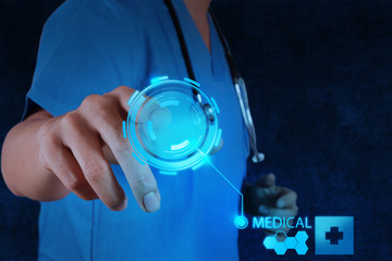 Medicine doctor working with modern computer interface
