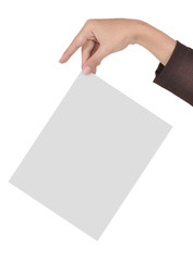 businesswoman's hand holding a blank paper isolated on white