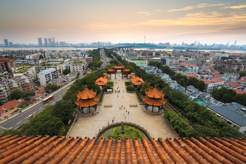 Fotobehang - wuhan city panorama