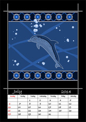 A calender based on aboriginal style of dot painting depicting d
