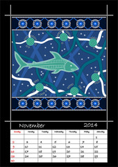 A calender based on aboriginal style of dot painting depicting s