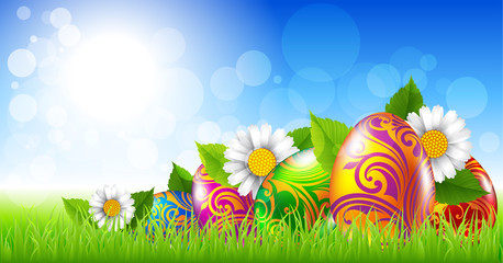 Easter greeting card with colored eggs