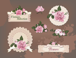 vintage collection of beautiful roses