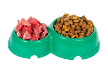 Fotobehang Spa Natural meat dog food or dry food