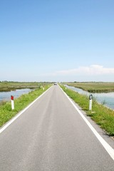 paved road islands in the Venetian lagoon