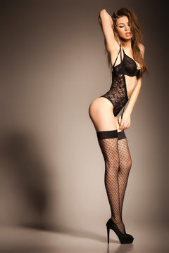 hot woman in lingerie with sexy body posing glamorous