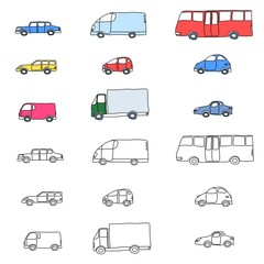 Transportation cartoon icon set - vehicles collection