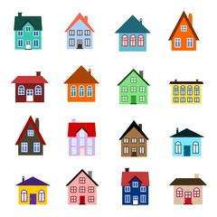 Cartoon house icon set - home collection