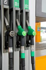 Fuel Pump Nozzles at Filling Station