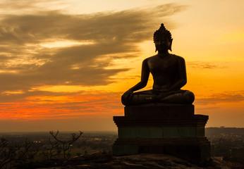 Keuken foto achterwand Boeddha Buddha statue on sunset sky background at Saraburi, Thailand